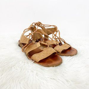 Lucky Brand Tan Perforated Gladiator Sandals